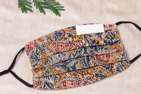 Kalamkari Cotton Fabric 3 Layer Pleated Face Cover with Filter Pocket