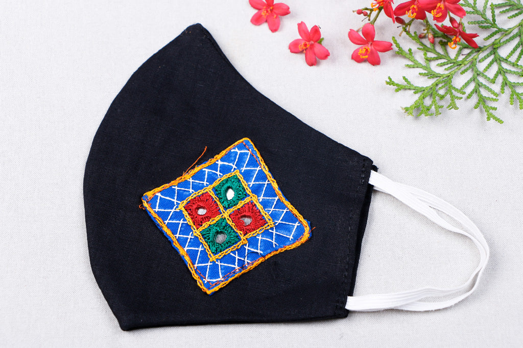 Kutchi Embroidery Patch Cotton 2 Layer Face Cover