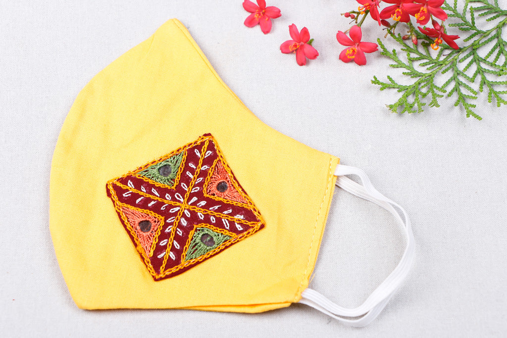 utchi Embroidery Patch Cotton 2 Layer Face Cover