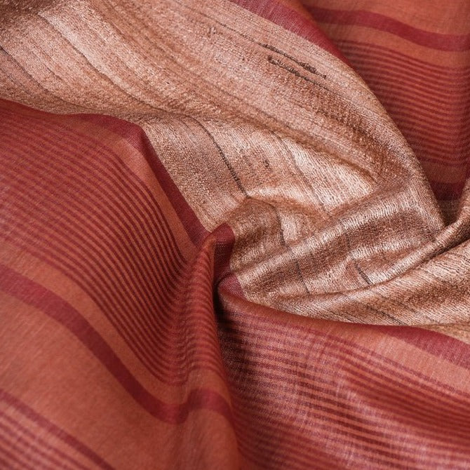 Traditional Vidarbha Pure Tussar Silk Cotton Handloom Saree with Woven Borde
