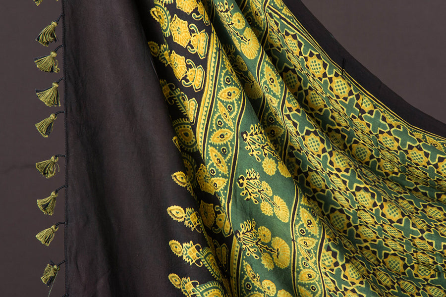 Sufiyan Khatri Special Modal Silk Ajrakh Natural Dyed Hand Block Print 2pc Suit Material Set