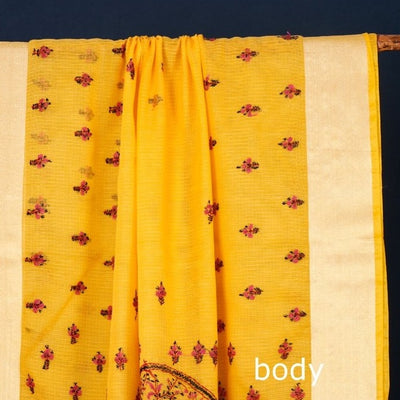 Handloom Kashidakari Hand Embroidery Pure Kota Silk Saree with Zari Border