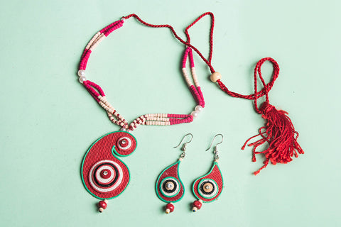 Bishnupur Handcrafted Jute Work Necklace Set