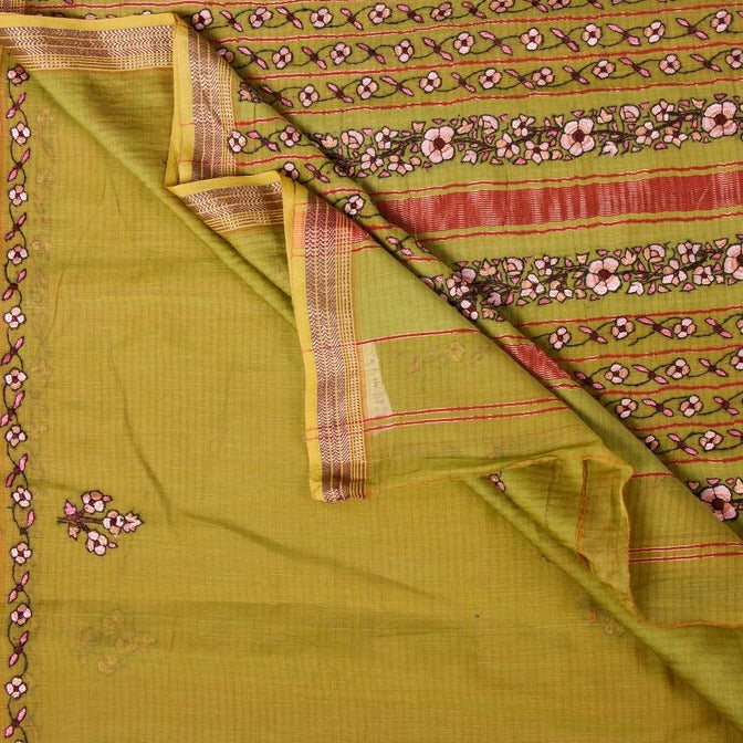 Handloom Kashidakari Hand Embroidery Pure Chanderi Silk Saree with Zari Border