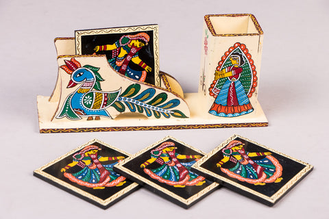 Tikuli Art Handpainted Wooden Coasters with Spoon & Knife Holder