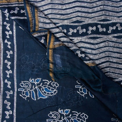 Handloom Kashidakari Hand Embroidery Pure Chanderi Silk Block Printed Saree with Zari Border