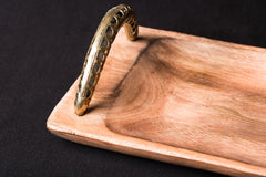Handcarved Natural Mahogany Wooden Rectangle Tray with Dokra Handle