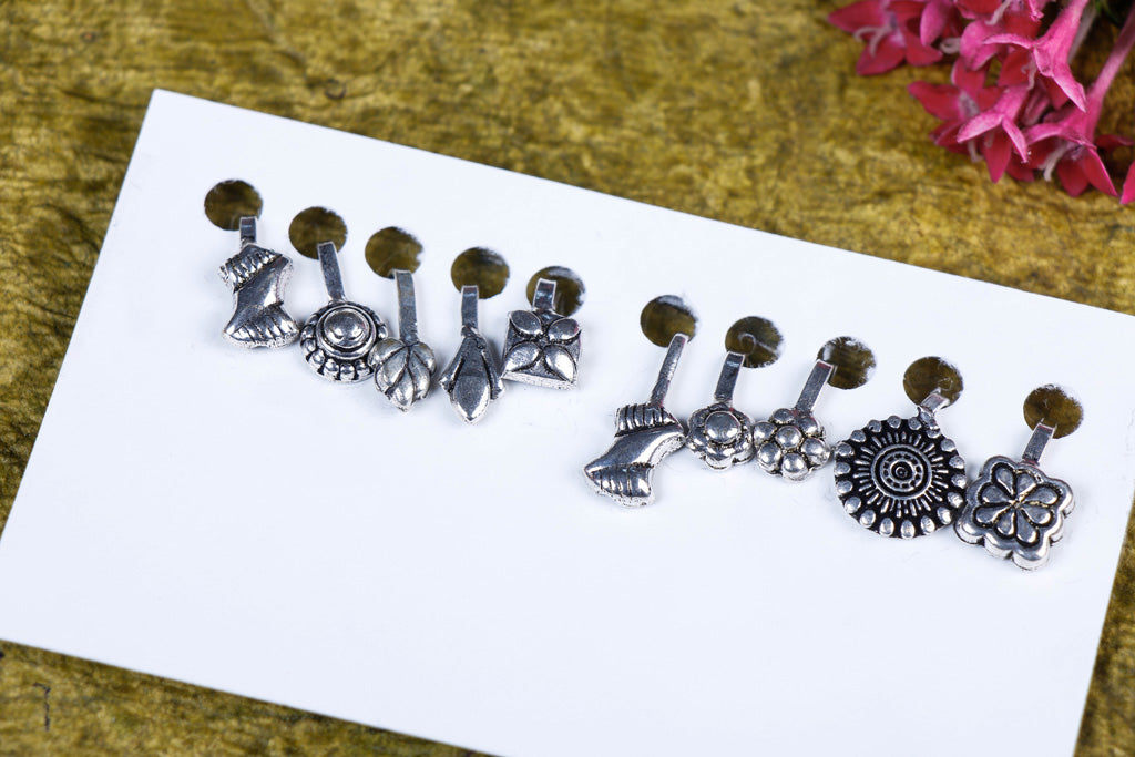 Set of 10 - Oxidised Nose Clip-on Brass Base Antique Silver Finish