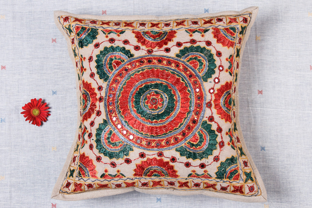 Mirror Work Kutch Heavy Embroidery Cotton Cushion Cover