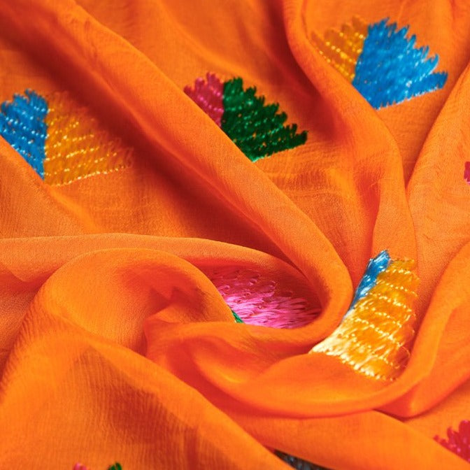 Traditional Phulkari Hand Embroidered Chinon Dupatta