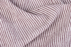 Organic Kala Cotton Pure Handloom Natural Dyed White & Brown Stripe Fabric (Width - 47in)