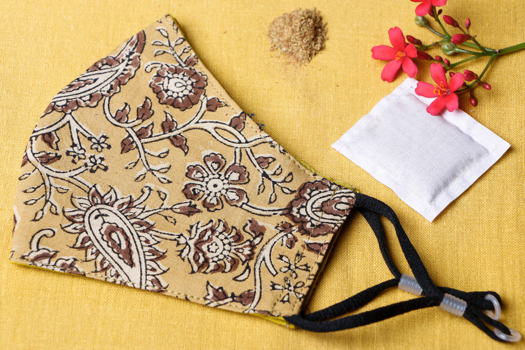 Herb Pocket Ajrakh Block Print Cotton Fabric 3 Layer Snug Fit Face Cover