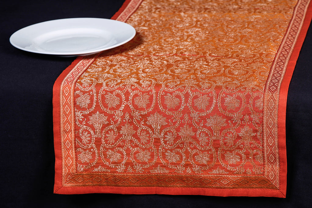 Traditional Pure Banarasi Handwoven Silk Zari Table Runner (114 x 33 cm)