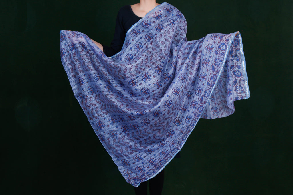 Pure Handwoven Kota Doria Printed Silk Cotton Dupattas