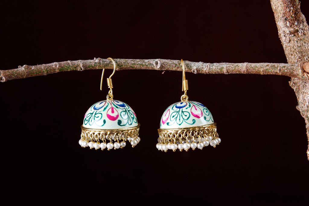 Meenakari Enamel Special Oxidised Brass Base Gold Finish Jhumki Earrings