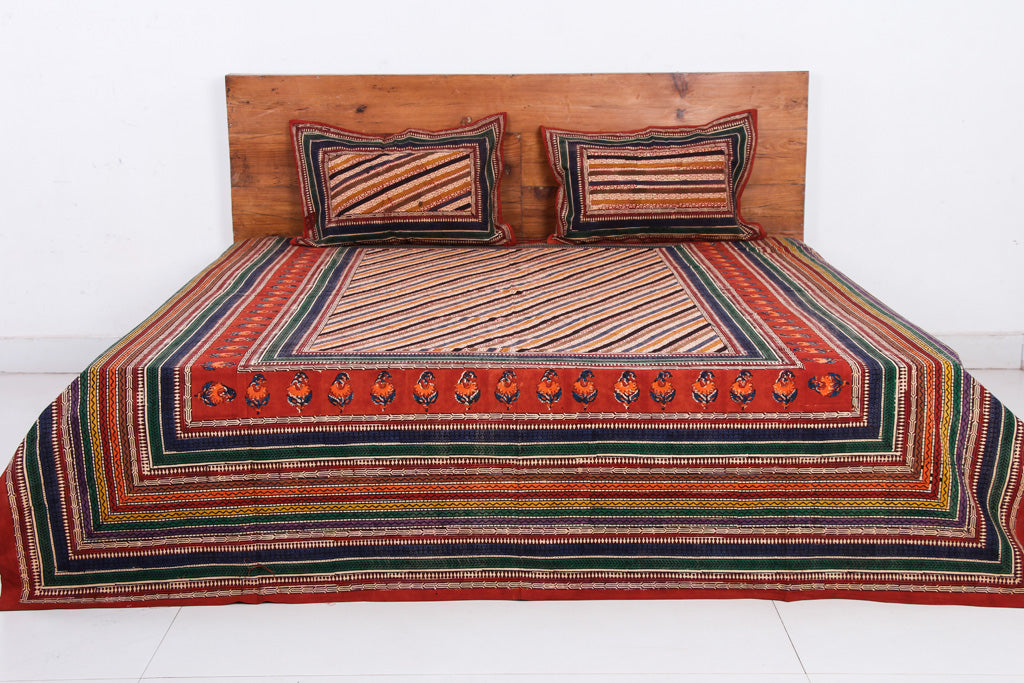 Bagru Kalamkari Block Printed Cotton Double Bed Cover with Pillow Covers (90 x 108 in)