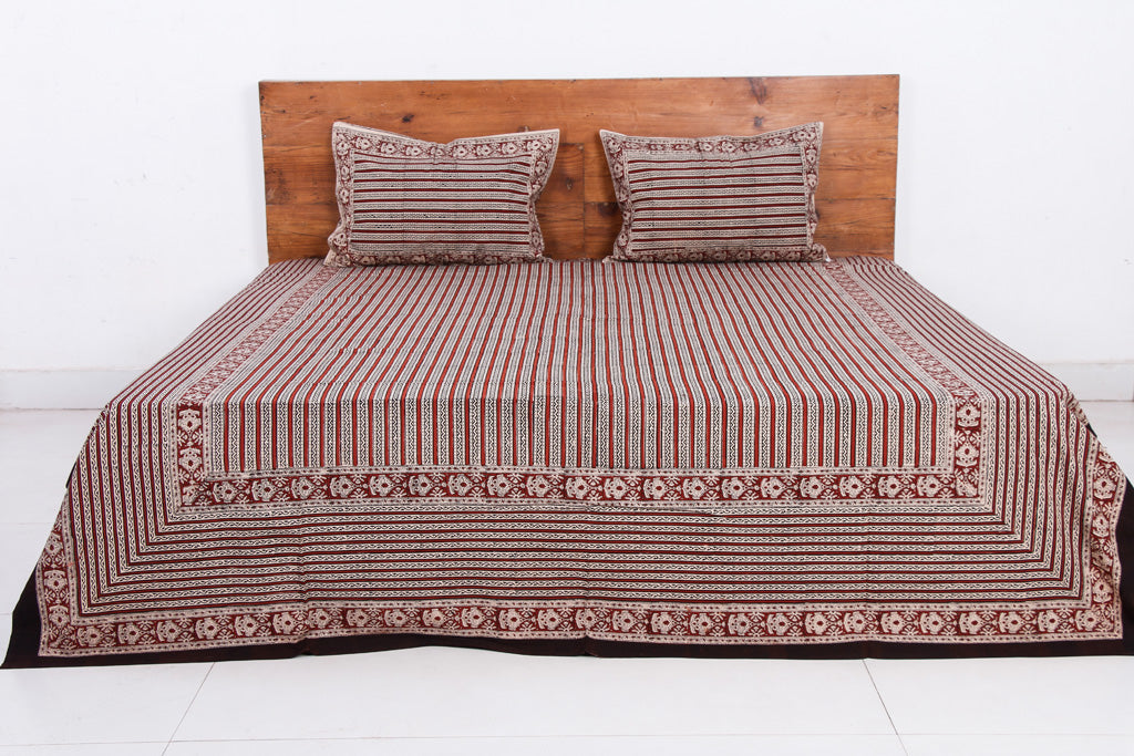 Bagru Block Printed Cotton Double Bed Cover with Pillow Covers (90 x 108 in)