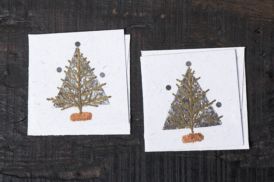 Flower Art Work Small Greeting Cards Christmas Tree - (Set of 2)