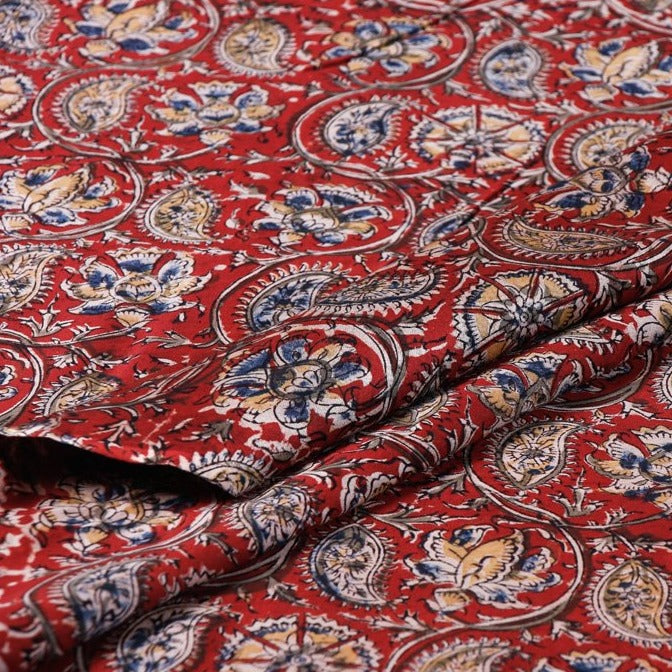 Original Pedana Kalamkari Hand Block Printed Handloom Chanderi Silk Fabric