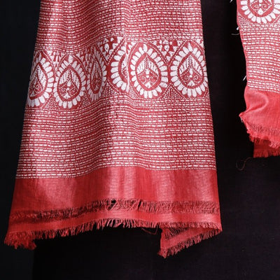 Authentic Bengal Kantha Embroidered Pure Tussar Silk Handloom Stole