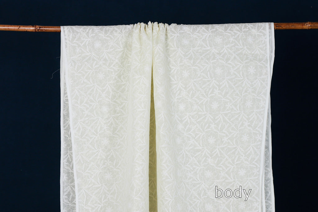 Chikankari Tepchi Hand Embroidered Kota Doria Cotton Saree