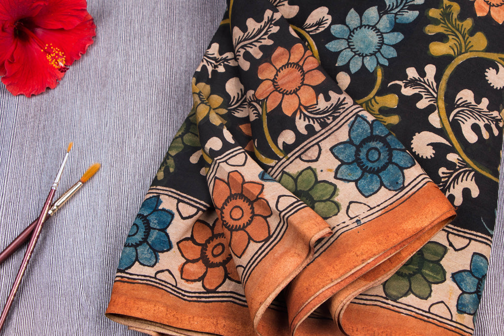 Handpainted Srikalahasti Kalamkari Pen Work Chanderi Silk Fabric