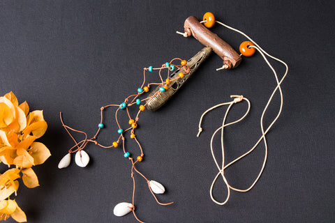 Tribal Handmade Wooden Pebble Dokra Necklace