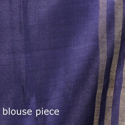 Bhagalpuri Handwoven Pure Desi Tussar Silk Saree with Zari Border