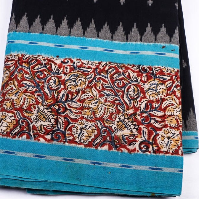 Ikat Woven Kalamkari Block Printed Border Cotton Fabric