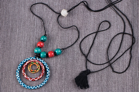 Tikuli Art Handpainted Wooden Necklace
