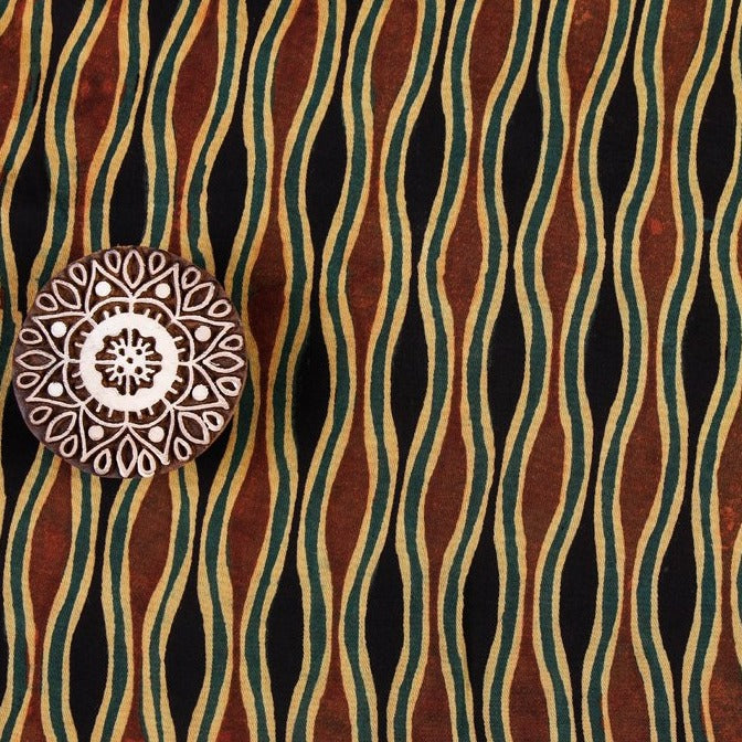 Special 3 Kaam Ajrakh Modal Silk Block Print Natural Dyed Fabric