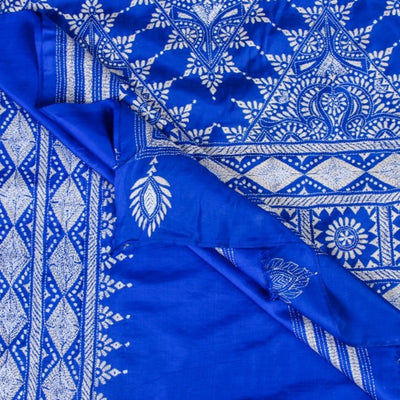 Authentic Bengal Kantha Embroidered Pure Silk Handloom Saree