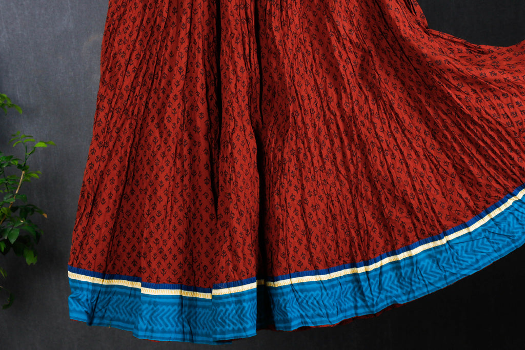 Kusumlata Hand Block Printed Cotton Crinkle Long Skirt