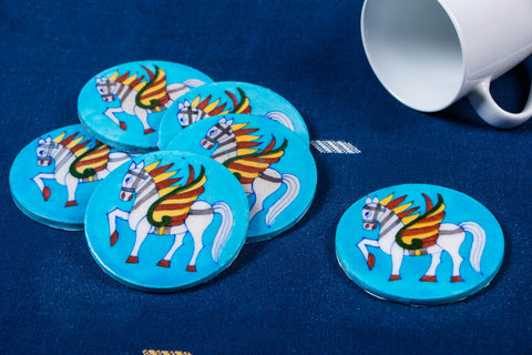 Original Blue Pottery Ceramic Coasters (Set of 6)