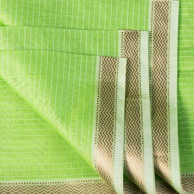 Maheshwari Silk Cotton Pure Handloom Fabric with Zari Border