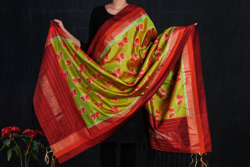 Special Handspun Pochampally Ikat Pure Silk Dupatta with Zari Border
