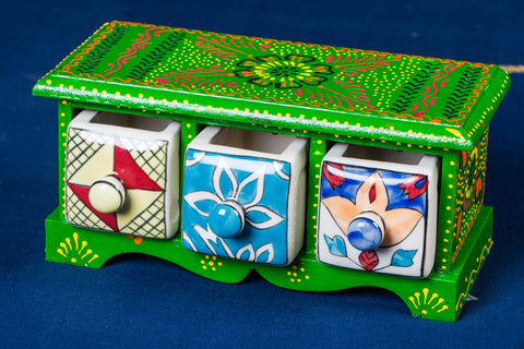 Neem Wood Hand Painted Blue Pottery Ceramic Triple Drawer