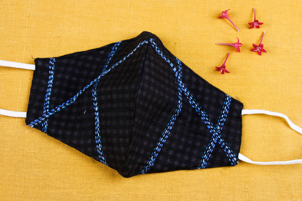 Hand Embroidered Pure Handloom Cotton 3 Layer Face Cover