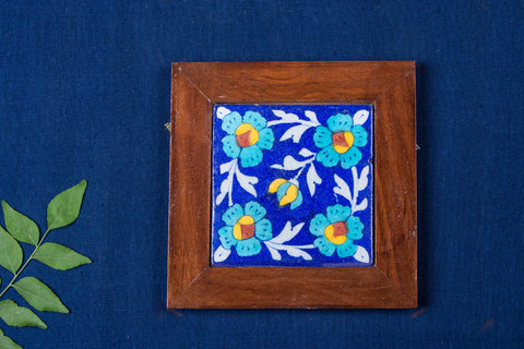 Original Blue Pottery Ceramic Tile Sheesham Wood Hot Plate (15cm x 15cm)
