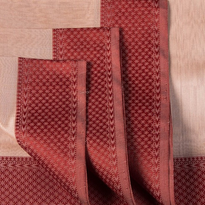Maheshwari Silk Cotton Pure Handloom Self Stripe Fabric with Woven Border