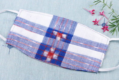 Special Sambalpuri Ikat Handloom Cotton Fabric 3 Layer Pleated Face Cover