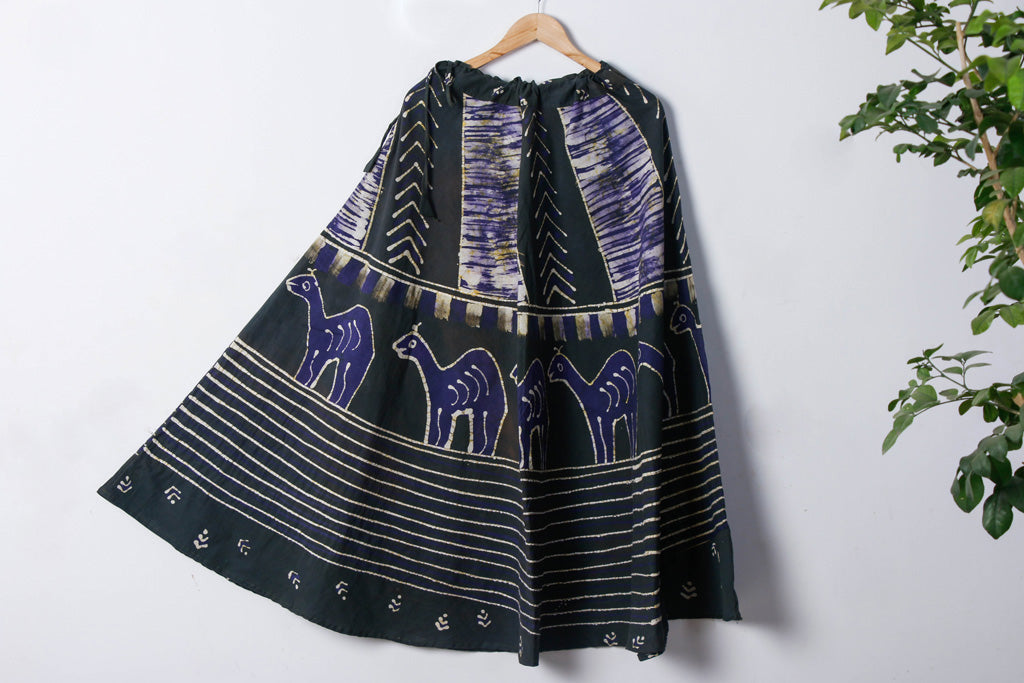 Batik Print Running Stitch Pure Cotton Long Skirt