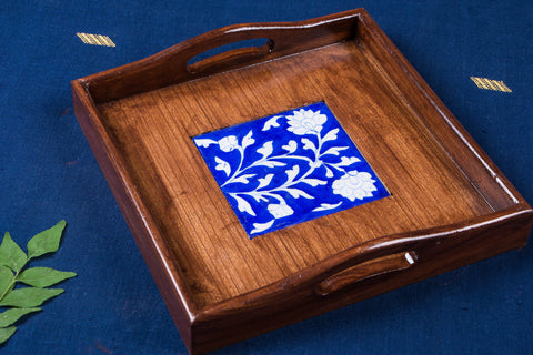 Ardu Wood Original Blue Pottery Ceramic Tile Tray (23cm x 23cm)