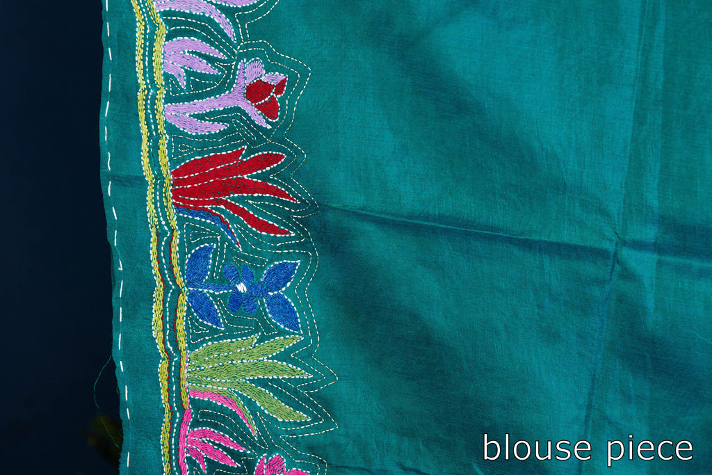 Authentic Bengal Kantha Embroidered Silk Saree