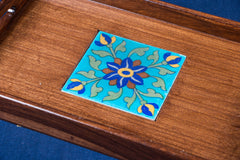 Ardu Wood Original Blue Pottery Ceramic Tile Tray (20cm x 31cm)