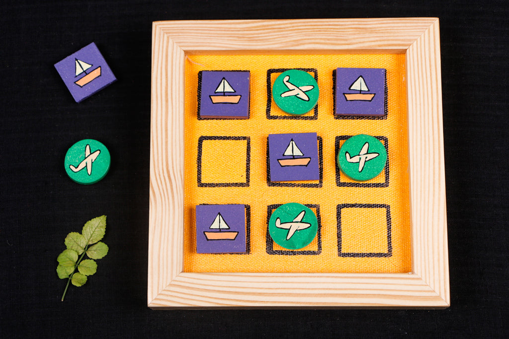 Miniature Handpainted Pine Wood Magnetic Tic Tac Toe