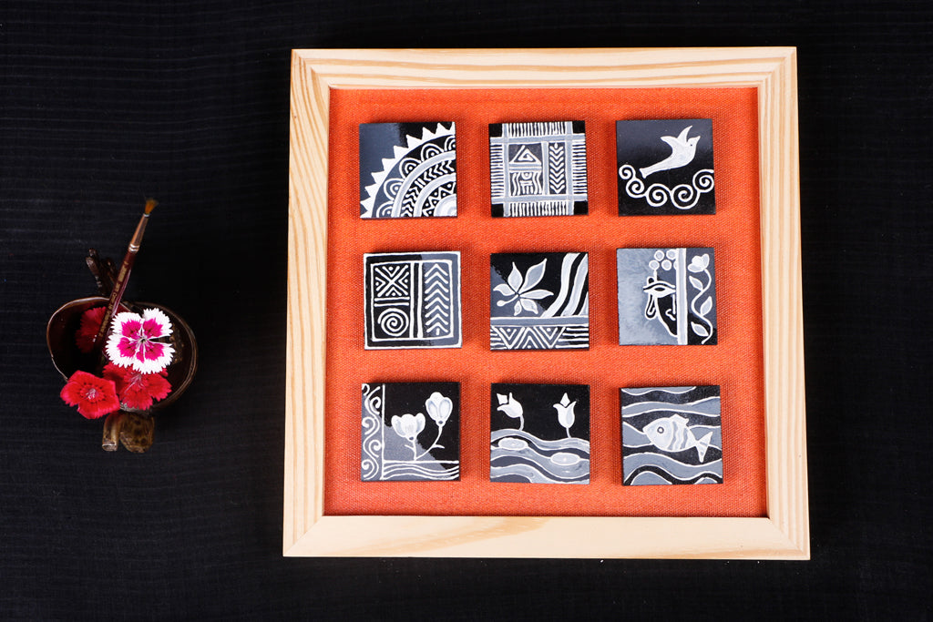 Miniature Handpainted Pine Wood Magnetic 9 Blocks Painting