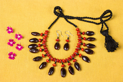 Handmade Natural Seeds Necklace Set