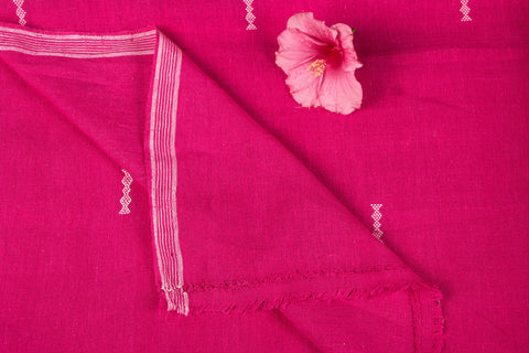 Organic Kala Cotton Pure Handloom Natural Dyed Hot Pink Extra Weft Fabric