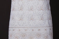 2pc Lucknow Chikankari Hand Embroidered Cotton Gota Work Suit Material Set with Georgette Dupatta